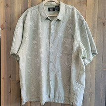 World Island Button Up Shirt 3XL Palm Tree Short Sleeve Breast Pocket Sage  - $21.98