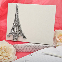 Eiffel Tower Guest book and pen Wedding Guest Book or any Paris Theme Event - $22.98