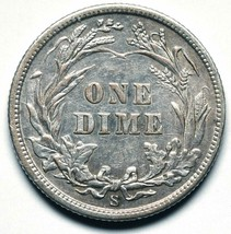 1908S Silver Barber Dime 10¢ Coin Lot# A 241 image 2