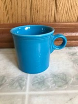 Fiesta Ware Peacock Blue Coffee Mug Ring Handle Homer Laughlin HLC USA Cup - $13.09