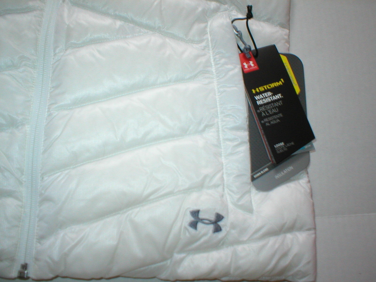 New Womens Under Armour Vest L White Down Warm Puff Infrared Storm NWT Water Res image 6