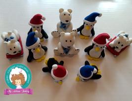 Penguins and Polar Bears fondant cupcake topper - $68.00