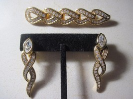 Swarovski Swan Gold Tone Crystal  Dangle Clip Earrings & Matching Brooch... - $54.45