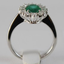 18K WHITE GOLD FLOWER RING WITH DIAMONDS & OVAL GREEN EMERALD 1.02 MADE IN ITALY image 2