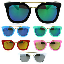 Kids Child Size Color Mirror Plastic Retro Metal Bridge Horned Sunglasses - $9.95