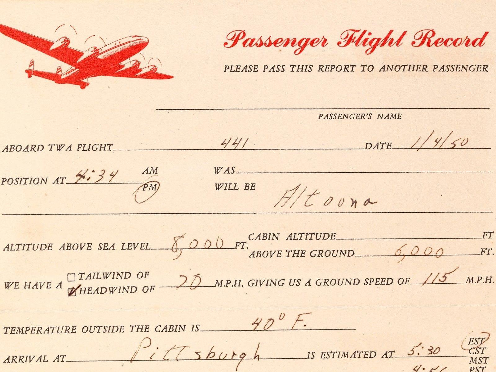 FREE SHIP: Vintage TWA Passenger Flight Record Postcard