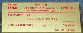 567SD PHONOGRAPH NEEDLE for Astatic N-50 N-51 Astatic 133 Cartridges 164-DS73 image 2