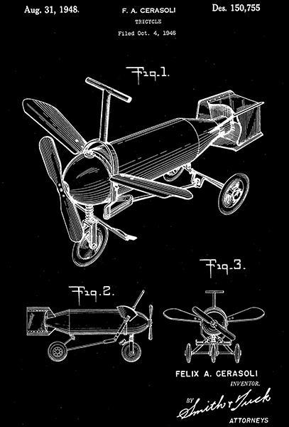 Primary image for 1948 - Tricycle - F. A. Cerasoli - Patent Art Poster