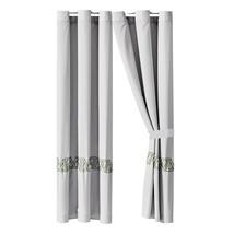 4-Pc Nico Curtain Set Drape Liner|Geometric Triangle Embroidery|Gray Sage Green - $40.89