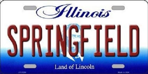 Route 66 Springfield Illinois License Plate Novelty Metal State Background Tag