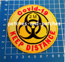Stop Covid Quarantine Signs 2m Keep Distance Patch sew on embroidery 19 ... - $9.99