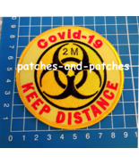 Stop Covid Quarantine Signs 2m Keep Distance Patch sew on embroidery 19 Corona - $9.99