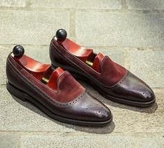 Handmade Men's Brown & Burgundy Brogues Slip Ons Loafer Shoes image 3