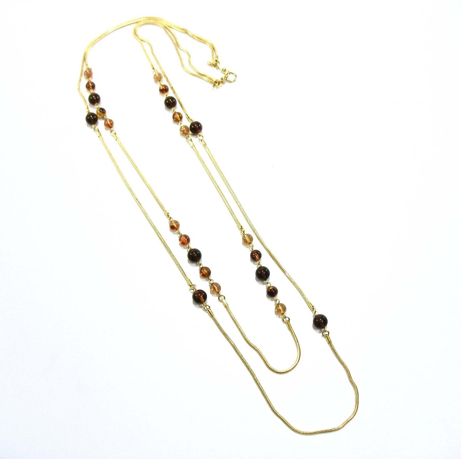 Vintage MONET Double Chain Necklace, Amber Brown Glass Beads, Long Snake Chain,