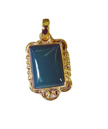 handsome Green Onyx Gold Plated Green Pendant Natural jaipur US gift - $12.86