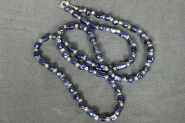 Long Beaded Necklace Indigo Blues with Silver Color Spacers - $15.00