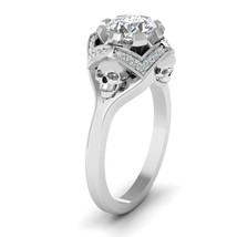 7.0mm Excellent Round Cut 1.30ct DEF White Moissanite Skull Ring Sterling Silver - $294.99