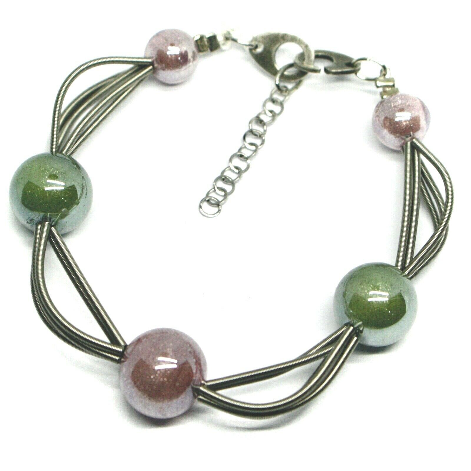 "MULTI WIRES BRACELET GREEN PURPLE SPHERES MURANO GLASS, 20cm 7.9"", ITALY MADE"
