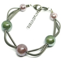 "MULTI WIRES BRACELET GREEN PURPLE SPHERES MURANO GLASS, 20cm 7.9"", ITALY MADE image 1"