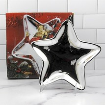 "Studio Nova Holiday Christmas Silver Star Candy Serving Dish Plate 8"" Mi... - $12.34"