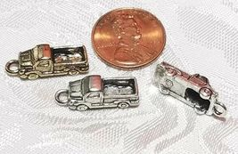 PICK UP TRUCK FINE PEWTER PENDANT CHARMS - 7mm L x 20mm W x 5.5mm D image 3
