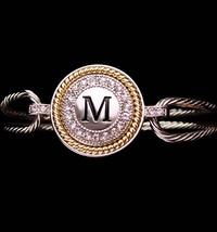 Sparkling Rhinestone Signet Bracelet - Letter M - silver initial bangle ... - $55.00