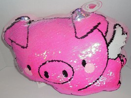 Justice Reversible Flip Sequins Plush Throw Piggy Pillow Pink New  - $24.74