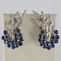 SOLID 18K WHITE GOLD FLOWER, LEAVES SCREW BACK EARRINGS WITH DIAMONDS SAPPHIRES image 3