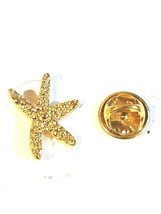 gold starfish very detailed pin badge, gold Lapel Pin Badge in gift box