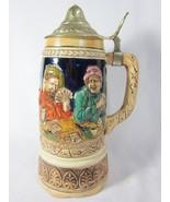 Vintage Beer Stein with Musical Box WORKING German Scene - $27.71