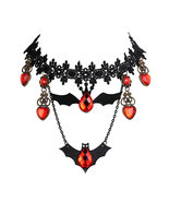 Fashion Black Rhinestone Bat Choker Necklace For Women Accessories Lace ... - £6.34 GBP