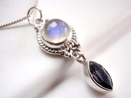 Faceted Iolite & Blue Moonstone Necklace 925 Sterling Silver Rope Style Accents - $22.72