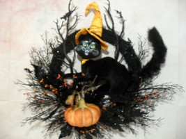 Halloween Wreath Handmade Black Cat Pumpkin Decoration   - €58,67 EUR
