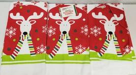 """SET OF 3 SAME PRINTED TERRY TOWELS (15""""x 25"""") REINDEER IN SCARF & SNOWFL... - $14.84"""