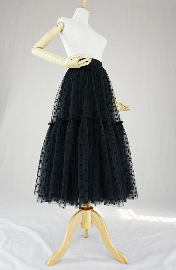 Black dot tulle skirt midi 4
