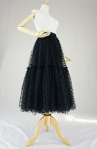 Black Tulle Midi Skirt Women A-line Black Dot Midi Tulle Skirt Polka Dot Tutu  image 5