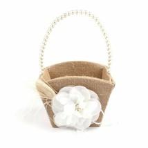 High Quality Jute Burlap Wedding Flower Basket Pearl Handle Designs With... - $16.82