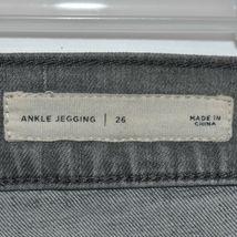 Pacsun Women's Gray Denim Distressed Raw Hem Ankle Jegging Pants Size 26 image 4