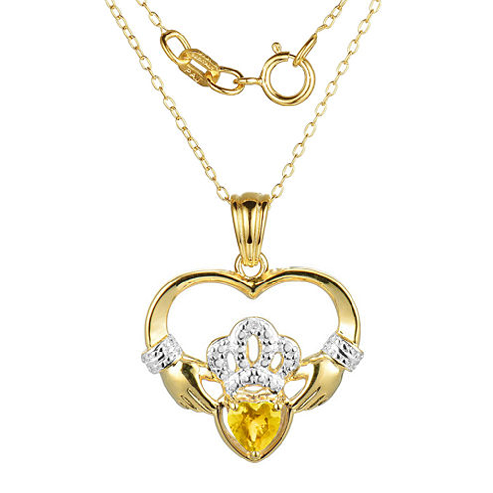 "Primary image for Heart-Shaped Citrine and Sim.Diamond Claddagh Pendant With 18"" Chain Necklace"