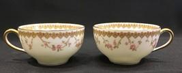 2 Haviland Limoges France Pink Rose Flower Garland Gold Trim Teacups - $34.99
