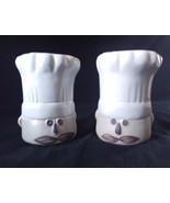 French Chef Head Stoneware Jumbo White Tan Stoneware Half Glaze Plastic ... - $17.44