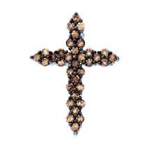 10k White Gold Round Brown Color Enhanced Diamond Cross Fashion Pendant 1/2 - $233.00