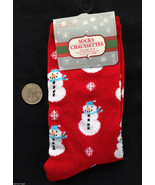 Christmas Novelty GLITTER SNOWMAN SNOWFLAKE CREW SOCKS Holiday Costume S... - $3.89