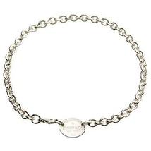 """Tiffany & Co Plata de Ley 925"""" Retorno A """"Ovalado Placa Collar 15.5"""" Pul... - $362.64"""
