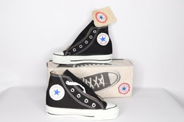 Vintage 90s New Converse Chuck Taylor Youth 10 All Star Hi Shoes Black U... - $114.79
