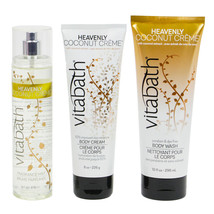 Vitabath Heavenly Coconut Creme Body Wash and Body cream Body Spray Gift SET - $38.99