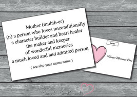 Personalised Mothers Day Card Unique  - $4.46