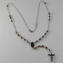 925 SILVER NECKLACE, RED RUBY, VIRGIN MARY MEDAL, CROSS BY ZANCAN MADE IN ITALY image 1