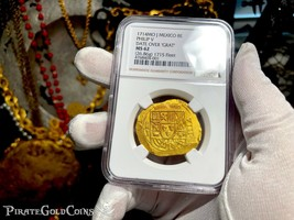 MEXICO 1714 8 ESCUDOS NGC 62 1715 FLEET PIRATE GOLD SHIPWRECK COINS TREA... - $19,900.00