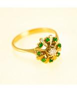 Vintage 18k Gold Emerald Cluster Ring UK size K BHS - $743.59